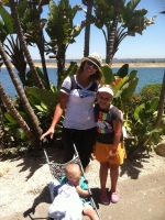 Beth and the kids in San Diego